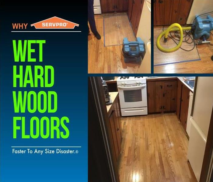 text on the left with pictures of the Injectdry system drying hardwood kitchen floors