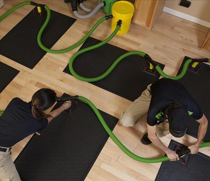 SERVPRO technicians installing Injectidry water removal system on hardwood floor